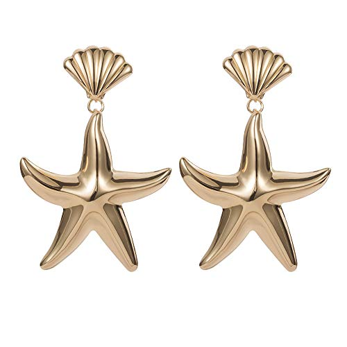 frigidssm 3D Seashell Solid Color Faux Starfish Pendant Stud Earrings Simple Women's Party Jewelry Gift Golden