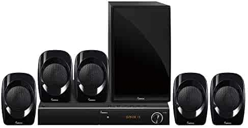 IMPECCA Home Theater System 5.1-Channel Surround Sound System with Bluetooth, USB, FM, Plays Multi Formats 450 Watts Stereo Sound with DVD Player HD HDMI Digital DVD Player, with Full Function Remote