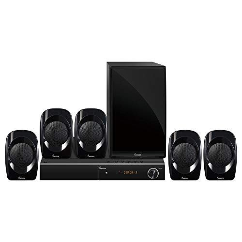 Impecca Cinema 5.1 Channel Home Theater Speaker System with DVD Player, 450W with Powered Sub, Surround Sound System, Bluetooth (Wireless Audio), USB Port, AUX – Line in