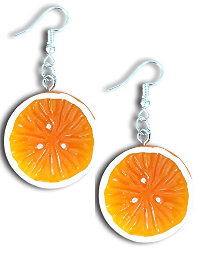 (Vegetable and Fruits Resin Dangle Charm Dangle Earrings by Pashal (Orange Slice))