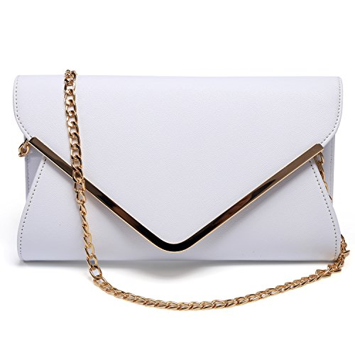 Womens Wristlet Shouder Strap Leather Evening Envelope Chain Handbag Clutch Faux White With Bag Purse gArqg8