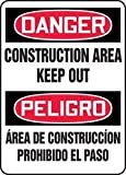 Accuform DANGER CONSTRUCTION AREA KEEP OUT (BILINGUAL) (SBMCRT011XL)