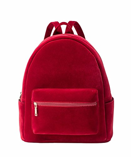 LeahWard Women's Girl's Nice Designer Backpack Bags Ladies Quality Rucksack Bag School Handbags 186 SUEDE FUCHSIA 31X38X15CM