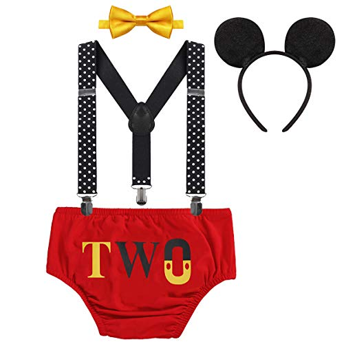 Baby Boys Mickey Costume 2nd Birthday Party Cake Smash Outfits Photo Prop Clothes Suspenders Bloomers Bowtie Mouse Ear #22 Red Two 18-24 Months -