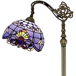 Tiffany Style Reading Floor Lamp Table Desk Lighting Purple Baroque Shade W12H64 E26