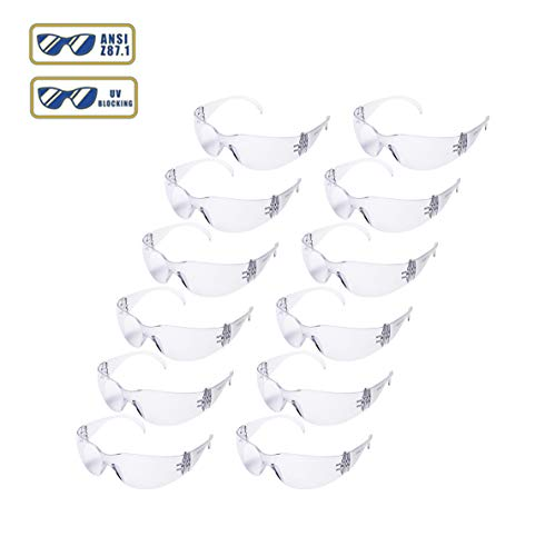 Golden Scute ANSI Z87.1 Safety Glasses with UV Blocking Polycarbonate Clear Lenses 12pair / Box