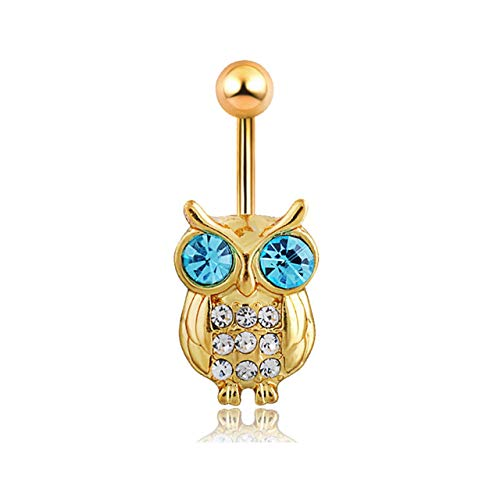 Crystal Belly Owl - Cecilee Blue Crystal Retro Owl Dangle Navel Ring Belly Piercing Kit Belly Button Rings for Women Girls Navel Rings