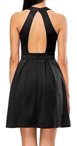 Bealatt Swing Dress Sleeveless Halter Neck Dress Tight A-Line Dress for Women Summer(Black L)