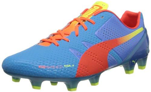 PUMA Men's Evospeed 1.2 SL Firm Ground Soccer Shoe,Sharks Blue/Fluorescent Peach/Fluorescent Yellow,10.5 M - Lightest Soccer Cleats