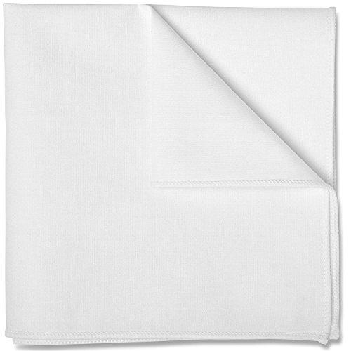 100% White Cotton Pocket Square 10 x 10 Inches by Puentes Denver - White - For Men Denver
