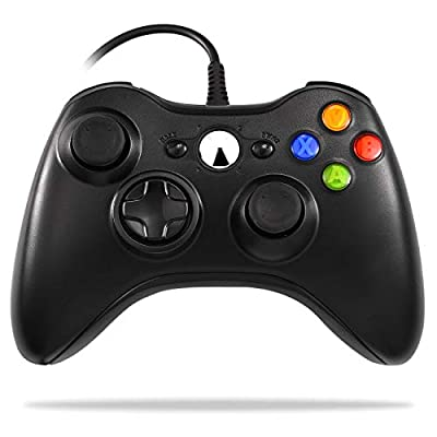 Xbox 360 Wired Controller, W&O USB Game Controller for Microsoft Xbox & Slim 360 PC Windows 7 8 10 (Black)