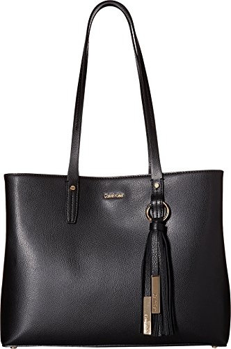 Calvin Klein Maggie Mercury Leather East/West Tote, Black/Gold