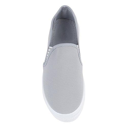 Stiefelparadies Damen Sneaker Slip Ons mit Plateau Glitzer Flandell Grau