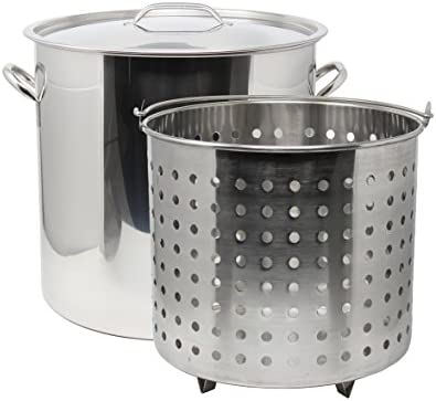 CONCORD 53 QT Stainless Steel Stock Pot w Basket. Heavy Kettle. Cookware for Boiling