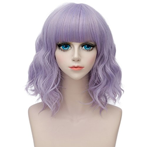 Probeauty Lolita 40CM Short Curly Fashion Women Mixed Brown Anime Cosplay Wig + Wig Cap (Pastel Purple F13B)