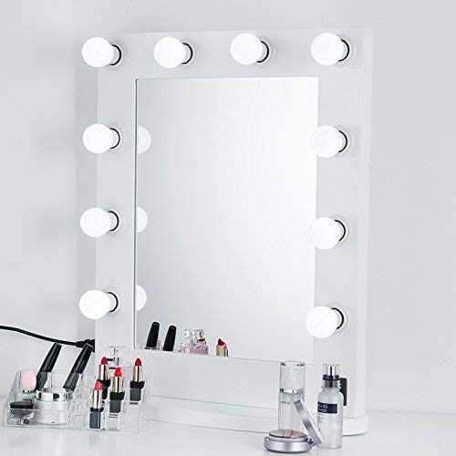 Beauty Life White- Hollywood Makeup Vanity Tabletop Mirror with Switch, Light Adjustable, Makeup-Ready, Bulbs Around, Cosmetic Mirror, Gift