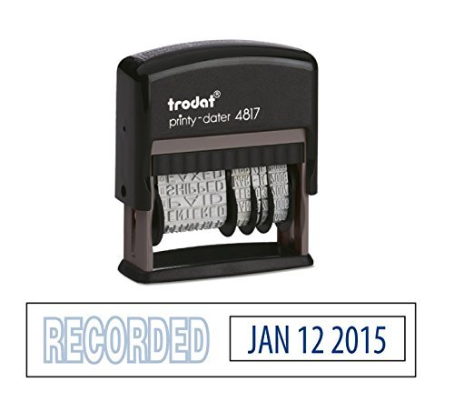 Trodat Rotating Stock Message Phrase Dater Self-Inking Rubber Stamp - ANSWERED, CHECKED, BACK ORDERED, DELIVERED, CANCELLED, ENTERED, EMAILED, BILLED, PAID, RECEIVED, SHIPPED, FAXED