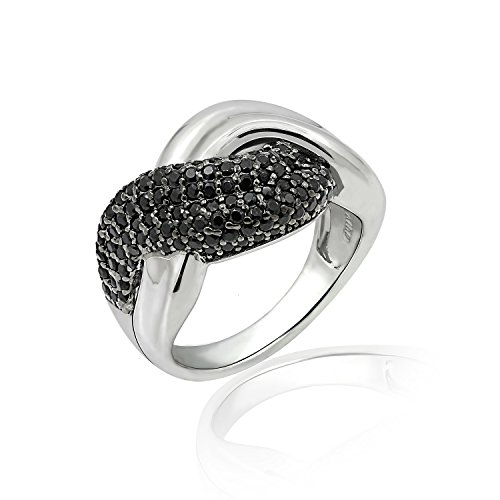 - Diamonbliss Sterling Silver or Gold Clad 1.25 ct tw Black Spinel Pave Twisted Ring - Sterling Silver,Size 5