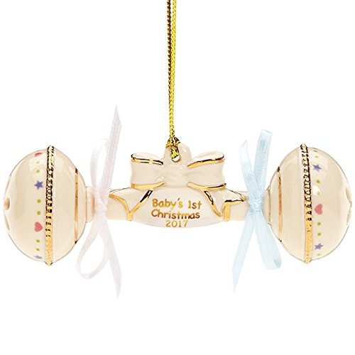 Lenox 2017 Baby's First Christmas Ornament 1st Rattle Porcelain Gift Limited Edition Baby's First Christmas Ornament Lenox