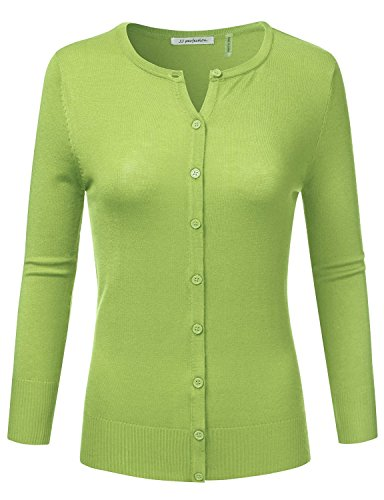 JJ Perfection Womens Solid 3/4 Sleeve Crew Neck Basic Button Down Cardigan