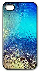 iPhone 4 Case,iPhone 4S Case,Abstract Blue Dew Window Art Background PC Hard Shell Black Cover Case for iPhone 4/4S