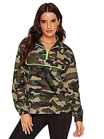 Milumia Women Sports Active Collar Camo Long Sleeve Windproof Windbreaker Sweatshirt Outwear Camouflage X-Small