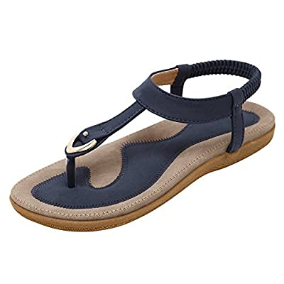 Harence Women's Casual Summer Shoes Ankle T-Strap Thong Flat Sandals