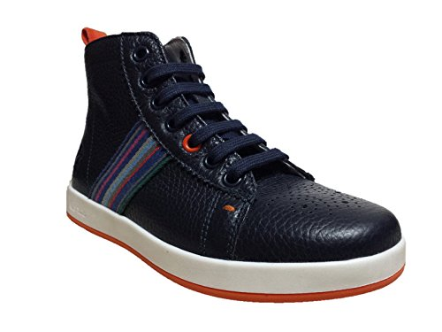 PAUL SMITH RABBIT HIGH LEATHER BLEU SCARPE BAMBINO SNEAKER PELLE BLU