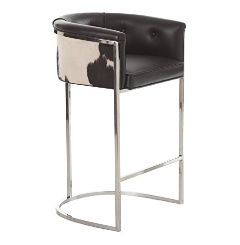 Calvin Top Grain Hair on Hide Black Leather Art Deco Bar Stool - Hide Top Bar