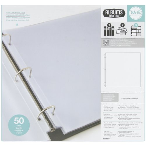 Ring 3 Keepers Memory - We R Memory Keepers Ring Page Protectors, 12 by 12-Inch, 50-Pack