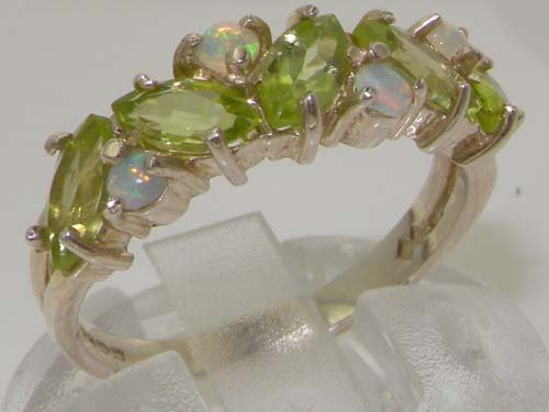 925 Sterling Silver Natural Peridot & Opal Womens Eternity Ring Sizes 4 to 12 Available