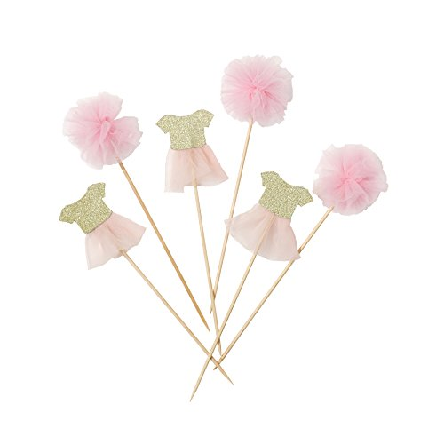 Talking Tables Pink And Gold Party Supplies Tutu Cake Topper | Great For Girl Baby Shower And Girls Party | Pink Gold, 12 Pack]()