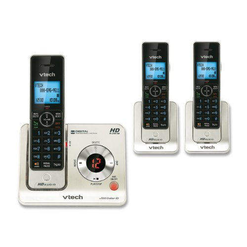 Dect Phone Stylish - VTech LS6425-3 DECT 6.0 Expandable Cordless Phone with Answering System and Caller ID/Call Waiting, Silver with 3 Handsets