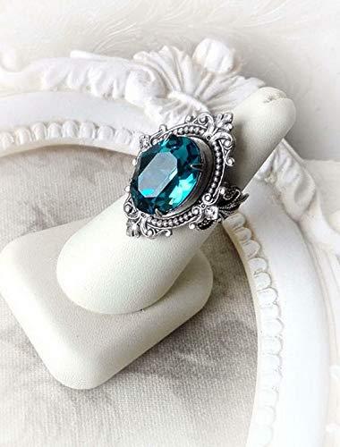 Waldenn 925 Silver Woman Ring Blue Topaz Jewelry Wedding Birthday Fashion Gift Size 5-10 | Model RNG - 14252 | 8