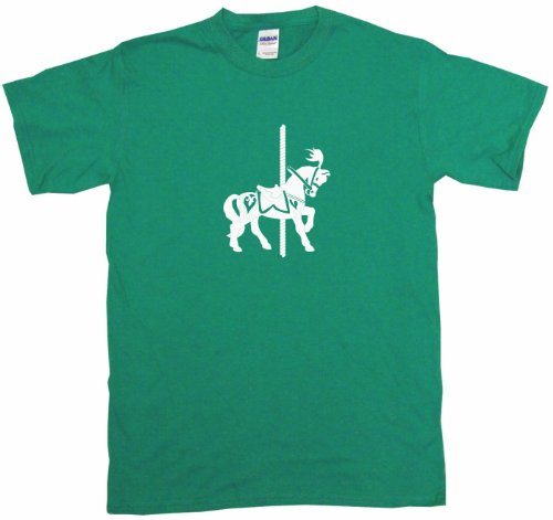 Carousel Horse Logo Big Boy's Kids Tee Shirt Youth XL-Green