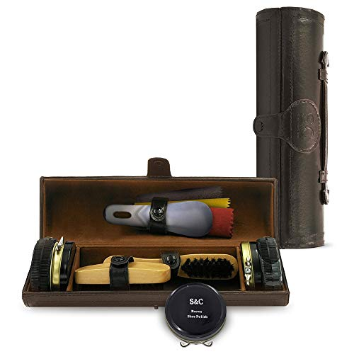 Stone & Clark 12PC Shoe Polish & Care Kit, Leather Shoe Shine Kit with Brown Wax, Shoe Brushes for Polishing, Shine Cloth & Shoe Horn,Compact Shoe Cleaning Kit With Shoes Shine Brush & PU Leather Case (Small Shoe Shine Kit)