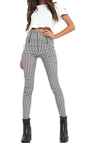 Gueuusu Women's High Waist Plaid Skinny Pants Stretchy Slim Fit Pencil Pants Trousers Leggings (M(US 2-4), (Cotton Plaid Trousers)