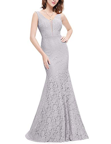 (Ever-Pretty Womens Floor Length Sleeveless Sexy Double V-Neck Military Ball Dress 4 US Grey)