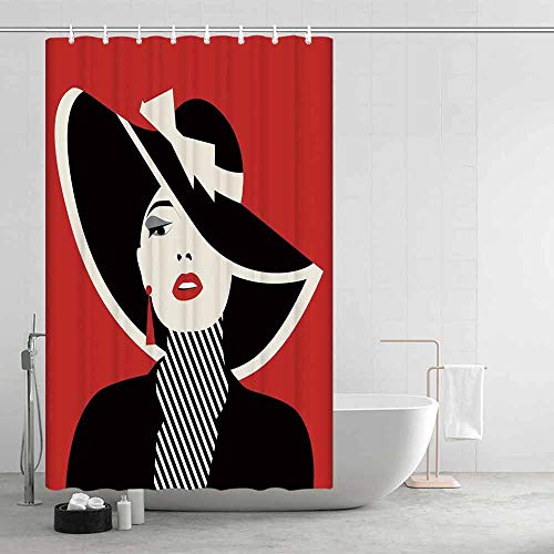 - TecBillion Girls Waterproof Shower Curtain,French Style Icon in Shabby Chic Classical Vintage Hat and Striped Coat Design Print for Showers Stalls and Bathtubs,47.24
