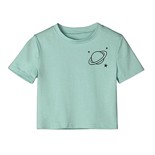 Women Teen Girl Crop Tops Cute Saturn Star Print Short Sleeve Fashion T Shirt Blouse (Green, M)