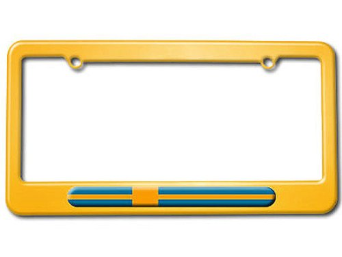 Graphics and More Swedish Flag - Sweden - Powder Coated Metal License Plate Tag Frame - Racing Yellow