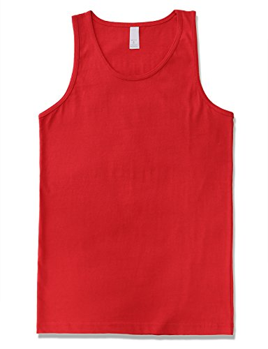 JD Apparel Men's Premium Basic Solid Tank Top Jersey Casual Shirts 3XL Red
