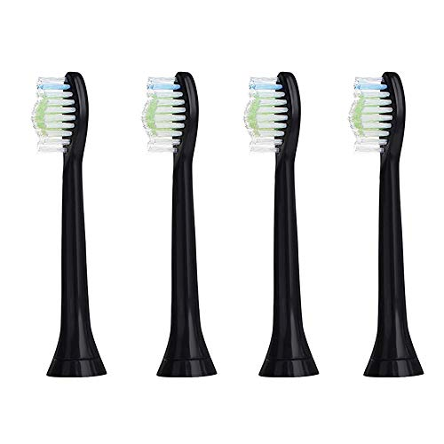 Replacement Toothbrush Brush Heads Independent Vacuum Packaging Replacement for Sonicare DiamondClean Standard Sonic Toothbrush Heads 4 Pack (Black)