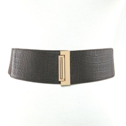 Women's 2 Inch Wide Elastic Stretch Croc Embossed Belt with Classic Professio...