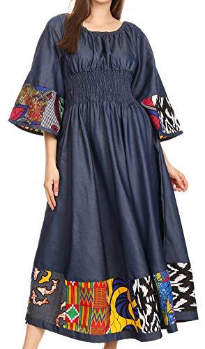 Sakkas 2181 - Abayomi Wax African Ankara Chambray Peasant Medieval Casual Long Dress - Chambray Multi/Tribal - OSP]()