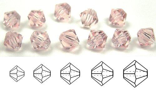 4mm Rosaline, Czech MC Rondell Bead (Bicone, Diamond Shape), 36 pieces
