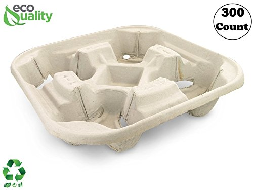 Pulp Fiber Cup Tray Biodegradable 4 Cup Carrier 300 Count by EcoQuality - Compostable, Recyclable - For Hot and Cold Drinks. Eco-Friendly and Stackable To Keep Coffee, Tea, Soda, Boba (Eco Carrier)