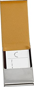 Bey-Berk D258N Brown Leather Business Card Case with Flip Top and Magnetic Closure,