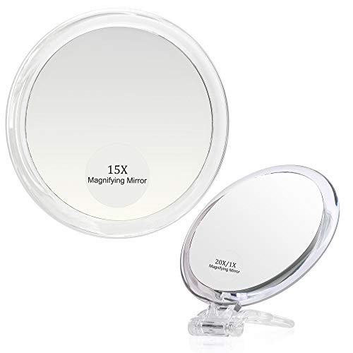 20X & 15X Magnifying Mirror Set Combo,6Inch 15X Magnified Mirror with 3 Suction Cups, 4 Inch 20X/1X Makeup Mirror with…