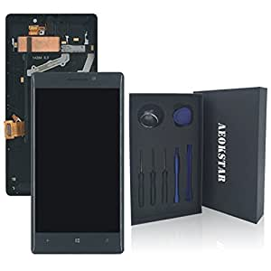 Aeokstar For Nokia Lumia 930 LCD Touch Screen Digitizer Glass Assembly Replacement + Frame & Full Repair Tools Kit (BLACK+FRAME)